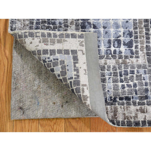 "2'3""x3'2"" Silver And Blue Silken Roman Mosaic Design Hand-Knotted Oriental Rug FWR271596"