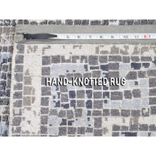 "Load image into Gallery viewer, 2'3""x3'2"" Silver And Blue Silken Roman Mosaic Design Hand-Knotted Oriental Rug FWR271596"
