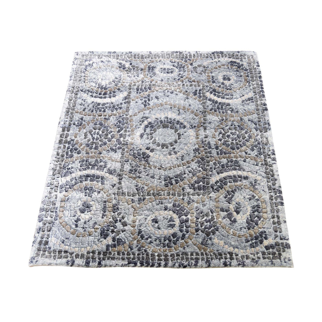 Handmade Modern and Contemporary Blue Rug