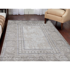 "5'2""x6'10"" Ivory And Taupe Silken Roman Mosaic Design Hand-Knotted Oriental Rug FWR271782"