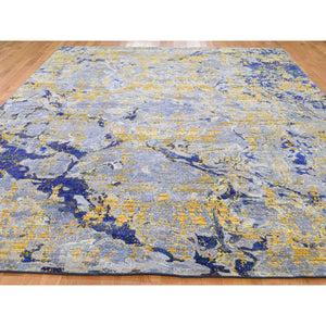 "8'10""x12'5"" Sari Silk With Textured Wool Yellow & Navy Blue hand-Knotted Oriental Rug FWR271866"