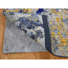 "Load image into Gallery viewer, 8'10""x12'5"" Sari Silk With Textured Wool Yellow & Navy Blue hand-Knotted Oriental Rug FWR271866"