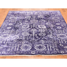 "Load image into Gallery viewer, 4'10""x6'8"" Transitional Purple Tabriz Wool and Silk Hand-Knotted Oriental Rug FWR272640"