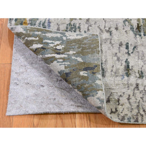 "2'7""x8' Hi-Low Pile Abstract Design Wool And Silk Runner Hand-Knotted Oriental Rug FWR273516"