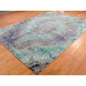 "8'9""x11'10"" COLORFUL DIMINISHING COINS, Sari Silk With Textured Wool Hand-Knotted Rug FWR274254"