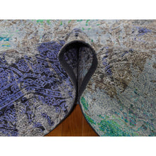 "Load image into Gallery viewer, 8'9""x11'10"" COLORFUL DIMINISHING COINS, Sari Silk With Textured Wool Hand-Knotted Rug FWR274254"