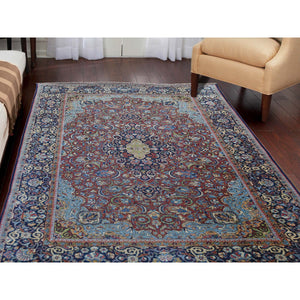 "4'4""x6'5"" Antique Persian Isfahan Good Condition Pure Wool Hand-Knotted Oriental Rug FWR274512"