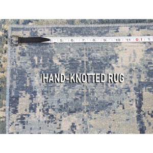 "2'7""x6'1"" Blue-Gray Abstract Design Wool and Pure Silk Hand-Knotted Oriental Runner Rug FWR275190"