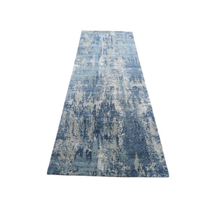 "2'6""x8'3"" Blue-Gray Abstract Design Wool and Pure Silk Hand-Knotted Oriental Runner Rug FWR275202"