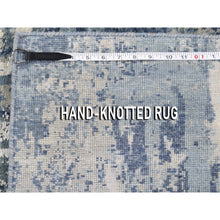 "Load image into Gallery viewer, 2'6""x8'3"" Blue-Gray Abstract Design Wool and Pure Silk Hand-Knotted Oriental Runner Rug FWR275202"