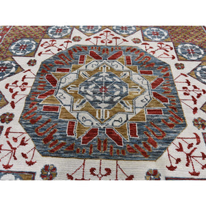 "10'2""x14'2"" Gold Mamluk Design Veg Dyes Hand Spun New Zealand Wool Oriental Rug FWR275298"