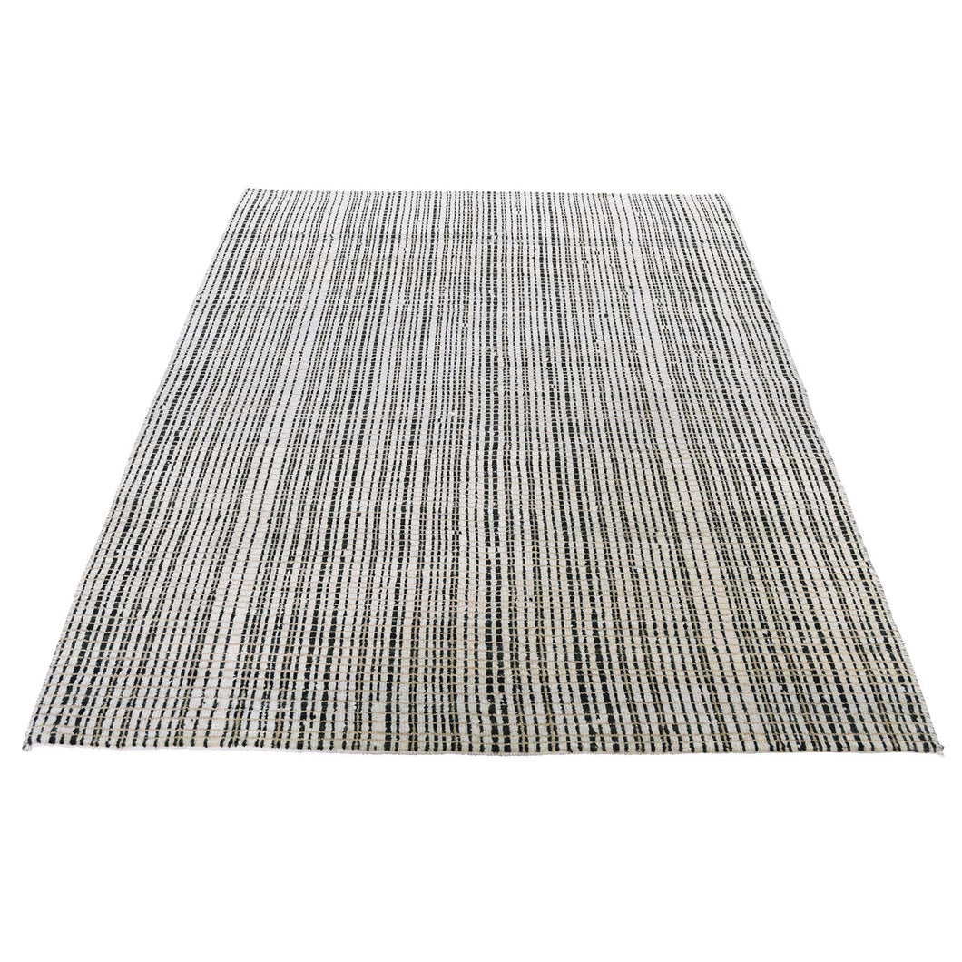 Modern Tone on Tone Striped Pure Wool Hand Knotted Oriental Rug(4'x5'10
