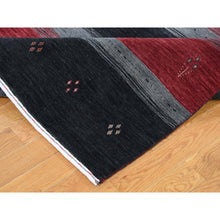 "Load image into Gallery viewer, 5'6""x8' Multicolored Hand Loomed Gabbeh Pure Wool Oriental Rug FWR276156"