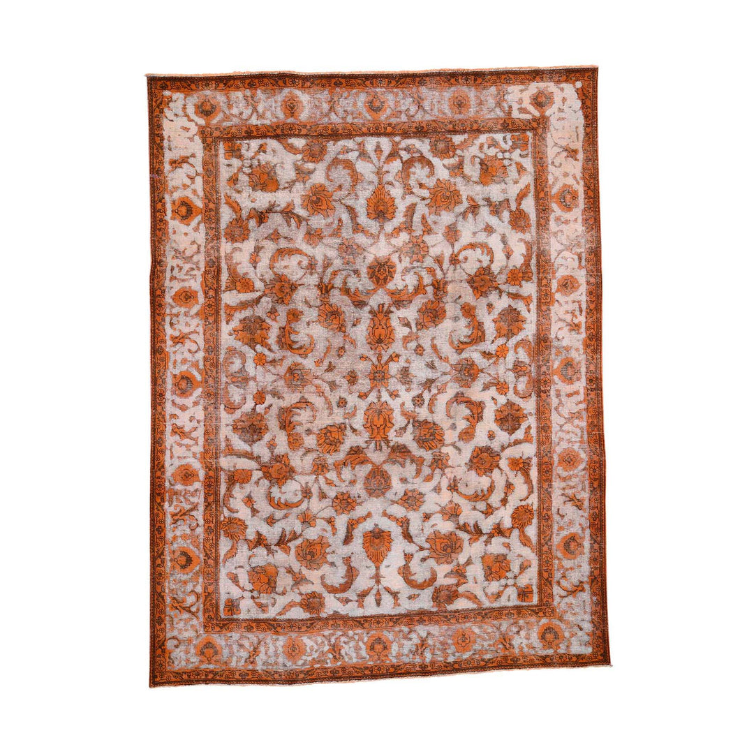 Overdyed Orange Pure Wool Hand-Knotted Village Rug FWR276234