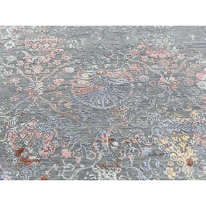 "9'x12'1"" Blue Flower Bouquet Design Wool And Silk Hand-Knotted Oriental Rug FWR276492"