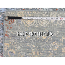 "Load image into Gallery viewer, 9'x12'1"" Blue Flower Bouquet Design Wool And Silk Hand-Knotted Oriental Rug FWR276492"