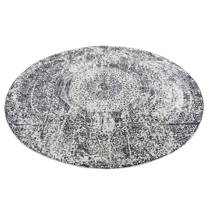 6'x6' Round Ivory Hand-Loomed With Mamluk Design Oriental Rug FWR277698