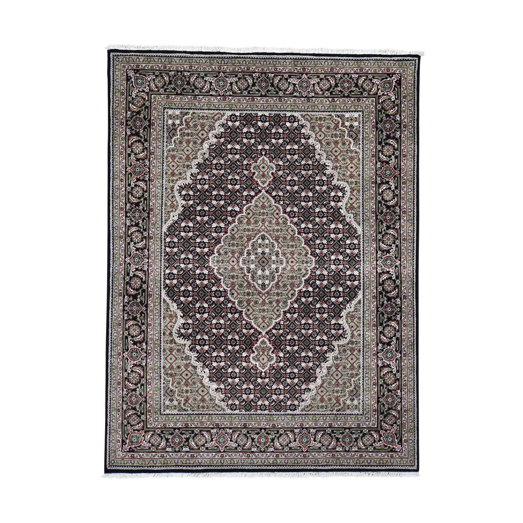 Black Mahi Wool and Silk Hand-Knotted Fine Oriental Rug (5'x6'8
