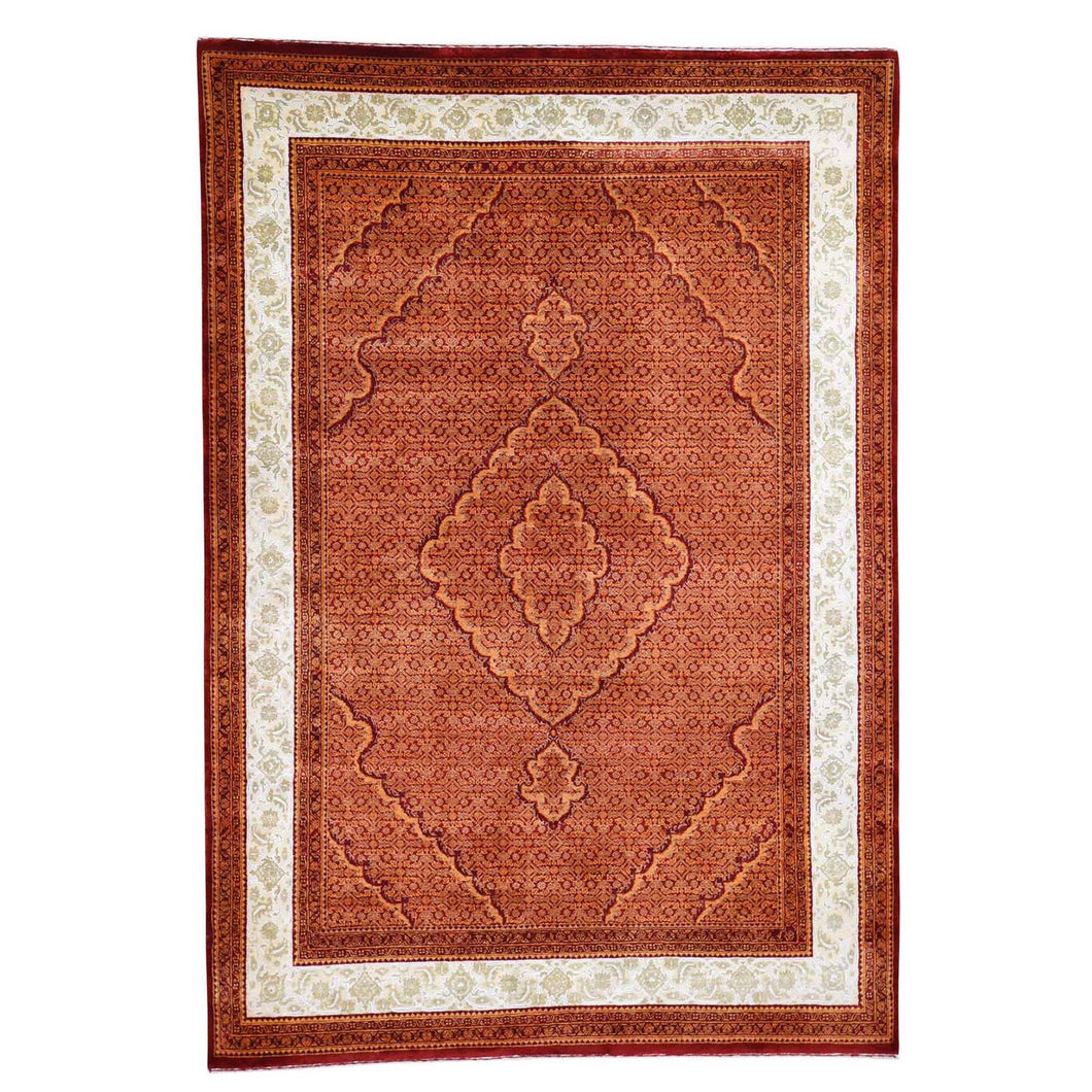 Wool and Silk Tone on Tone Fine Oriental Hand-Knotted Oriental Rug(5'7