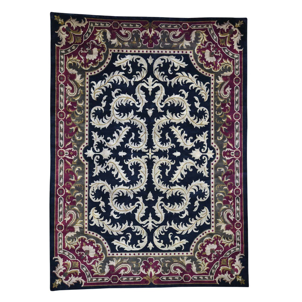 On Clearance Modern Nepali with Neo Classic European Design Hand Knotted Rug(9'x12'4