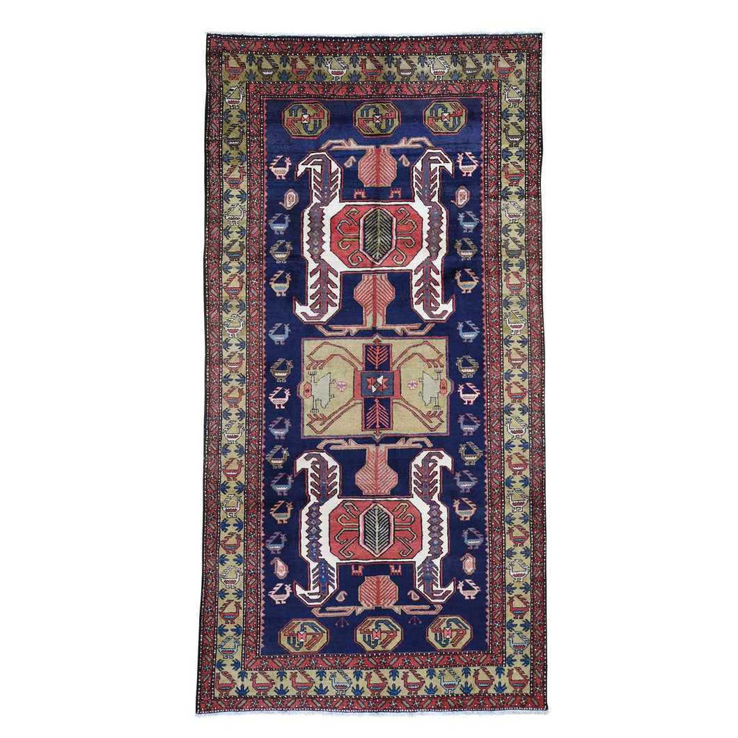 Vintage North West With Ancient Peacocks Figure Motifs Wide Gallery Runner Hand-Knotted Tribal Oriental Rug(5'7