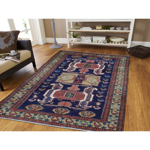 "5'7""x11' Vintage North West Persian With Ancient Peacocks Figure Motifs Wide Gallery Runner Hand-Knotted Oriental Rug FWR280500"