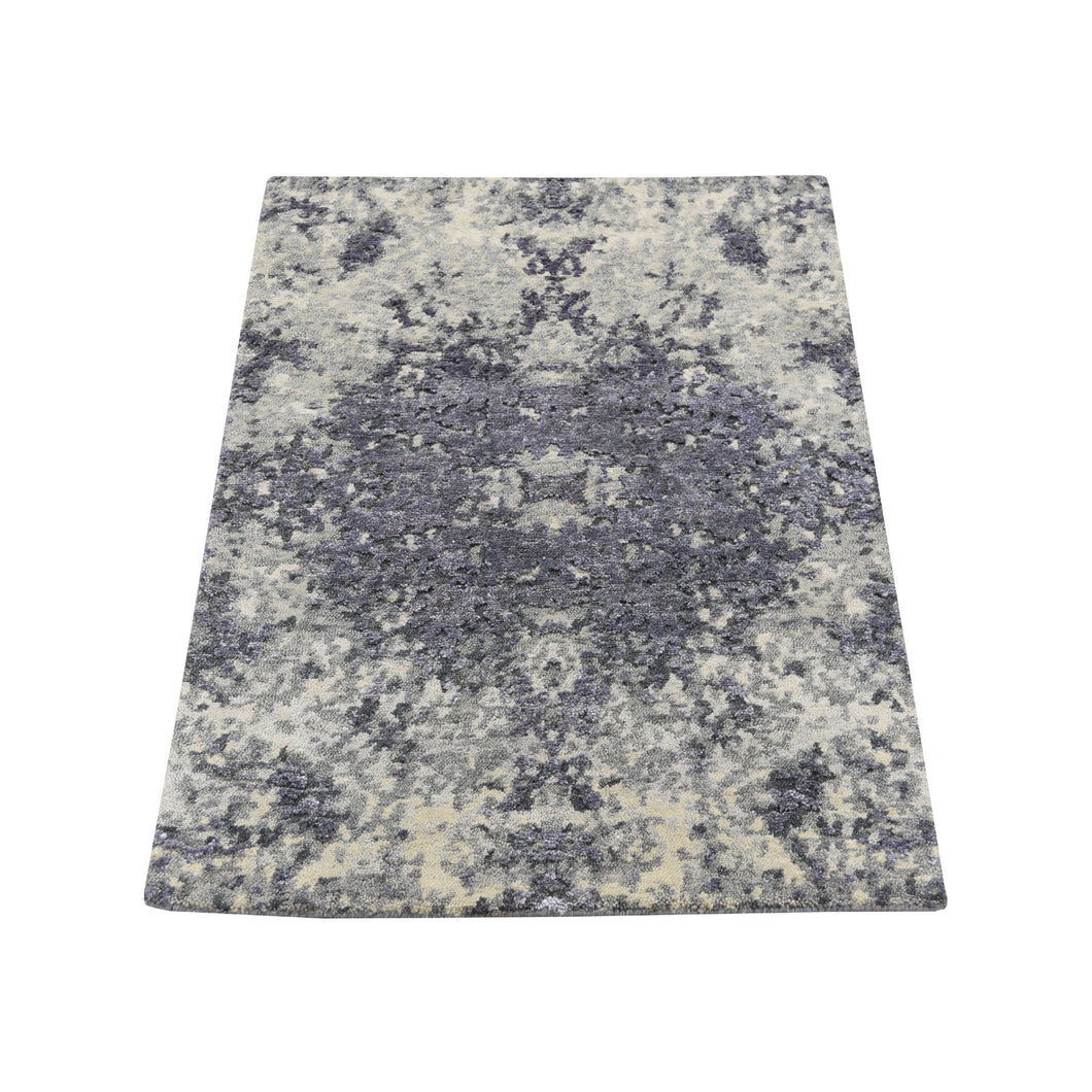 Sample Lavender Abstract Design Wool and Silk Hand-Knotted Oriental Rug (2'x3') FWR281010
