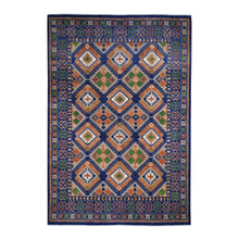 "Load image into Gallery viewer, 9'x12'5"" Blue Afghan Ersari Geometric Design Pure Wool Hand-Knotted Oriental Rug FWR281130"