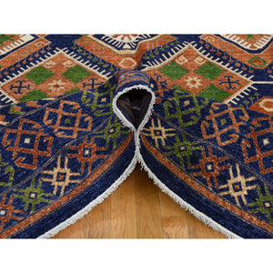 "9'x12'5"" Blue Afghan Ersari Geometric Design Pure Wool Hand-Knotted Oriental Rug FWR281130"
