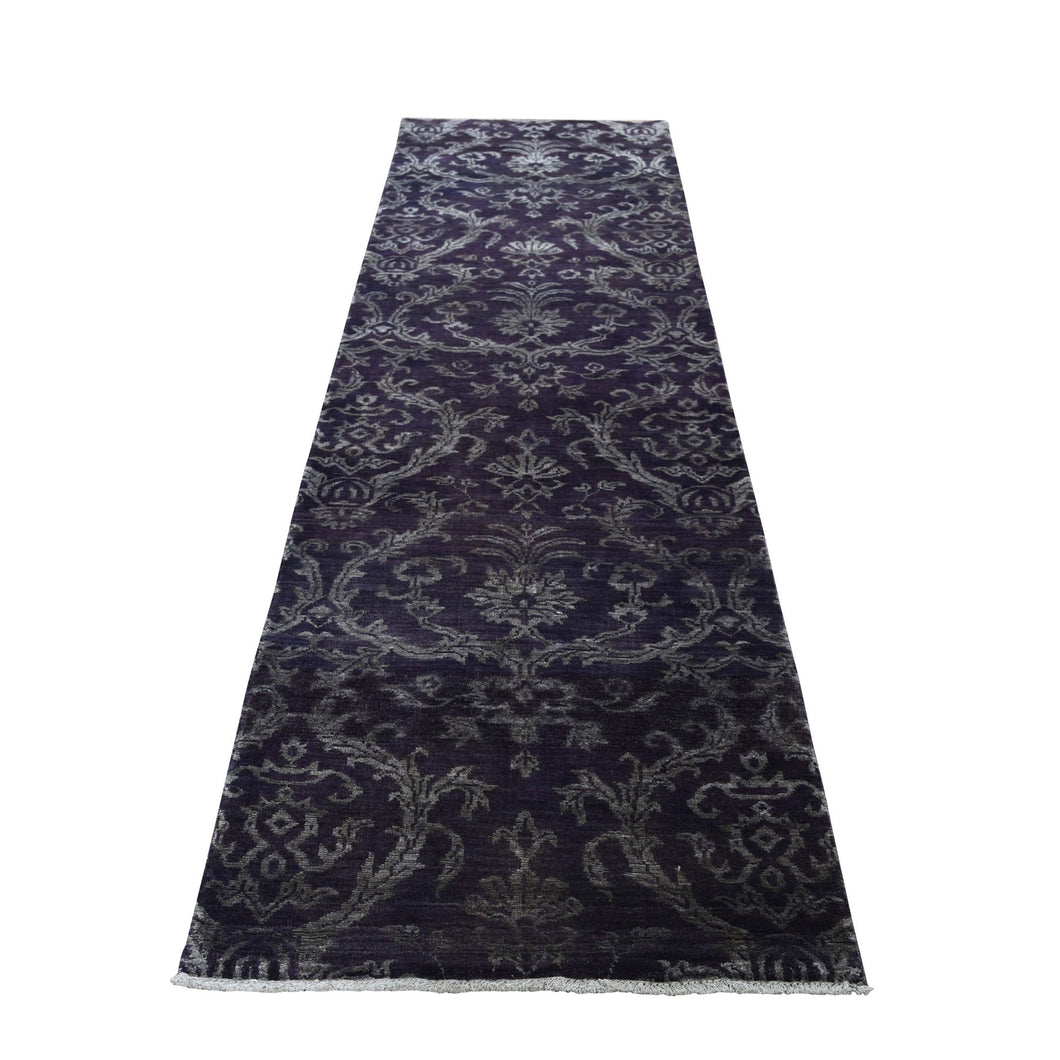 Damask Runner Tone on Tone Wool And Silk Hand-Knotted Oriental Rug(2'5