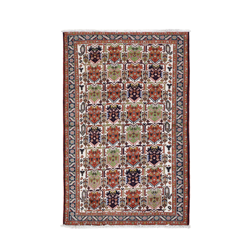 Ivory Vintage With Block Design Hand Knotted Pure Wool Tribal Rug(3'10