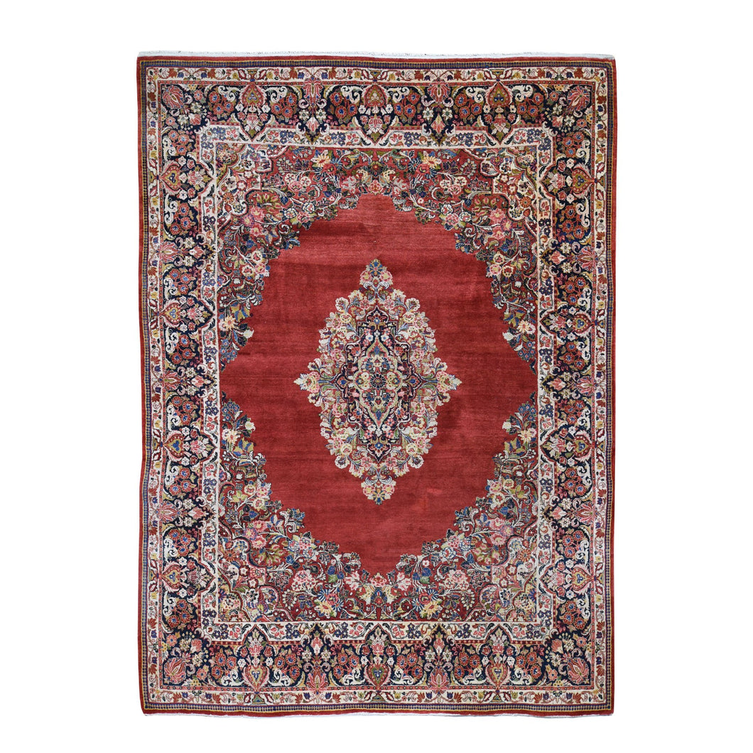 Red Antique Pure Wool Full Pile Hand Knotted Fine Oriental Rug(8'8