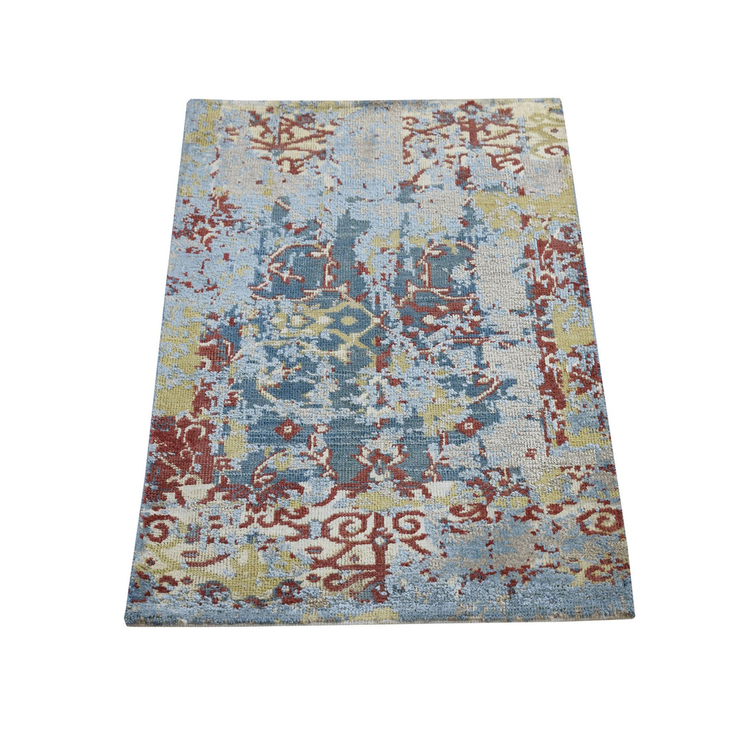 Hand Knotted Silk With Textured Wool Erased Design Oriental Rug(2'x3') FWR284424