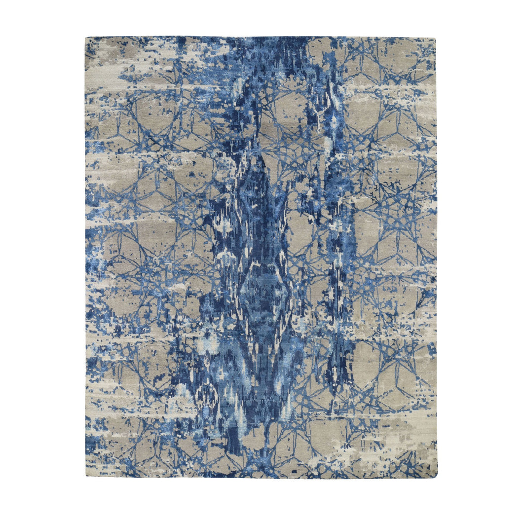 Hi And Lo Pile Wool And Silk Abstract Design Hand knotted Oriental Rug(8'1