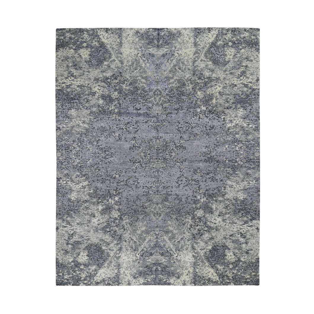 Wool And Silk Abstract Tone-On-Tone Gray Hand Knotted Oriental Rug(8'x9'9