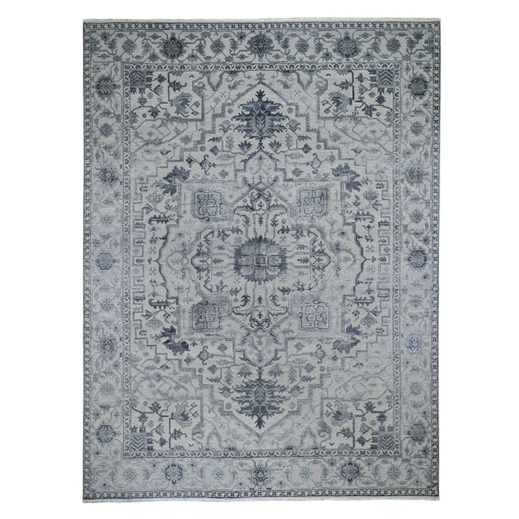 Wool And Silk Gray Hand Knotted Fine Oriental Rug(9'x12') FWR284628