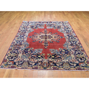 "5'9""x9'10"" Red Vintage Persian Mahal Open Field Pure Wool Hand Knotted Oriental Rug FWR285018"
