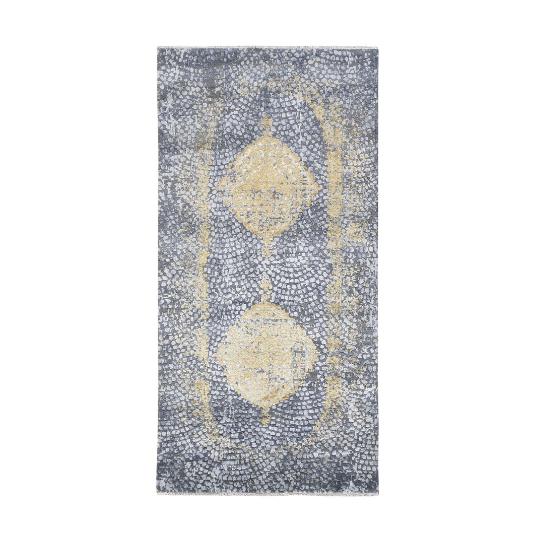 Gray-Gold Wool And Pure Silk Runner Hand Knotted Oriental Rug(3'x8') FWR285144