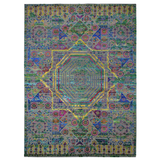 10'x14' Colorful Sari Silk Mamluk Design Hand Knotted Oriental Rug FWR285306
