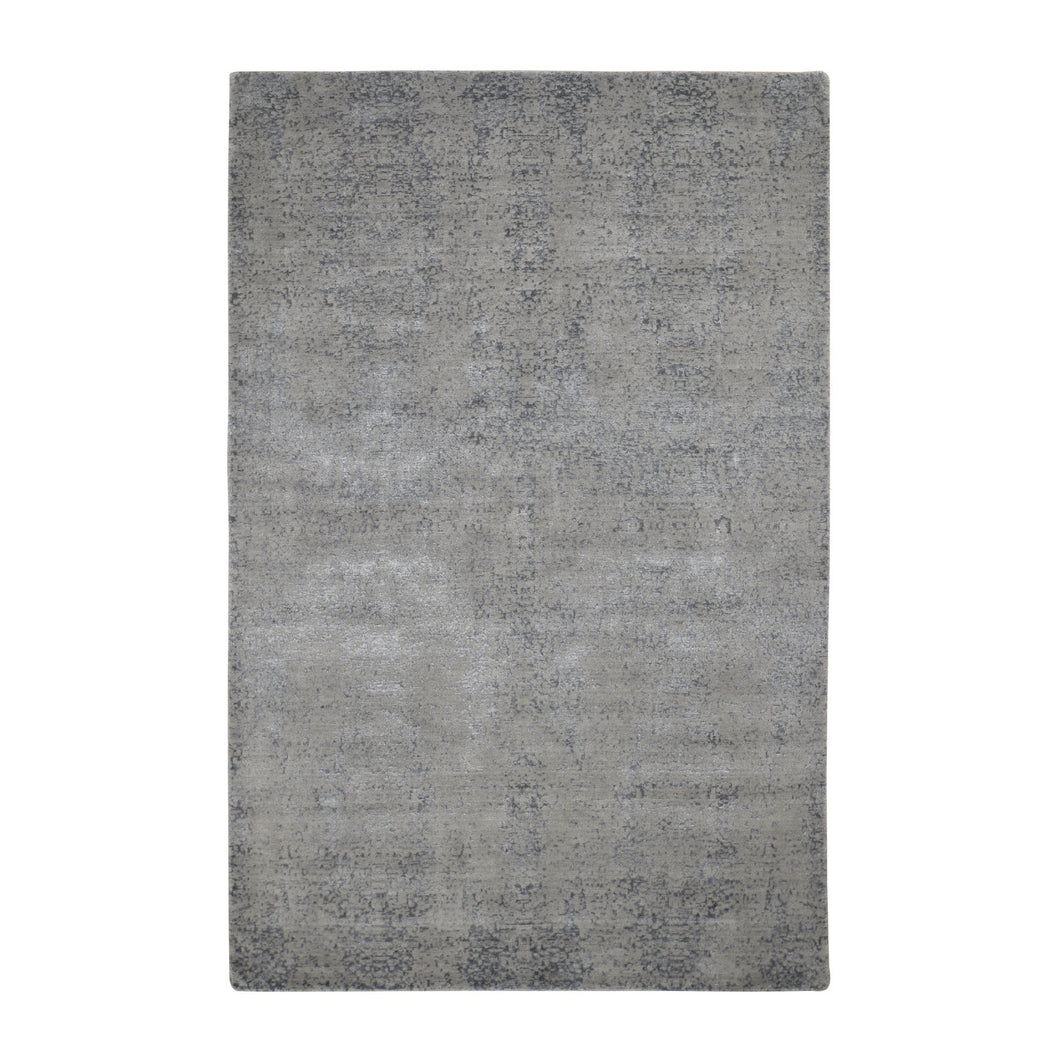 6'x9' Gray Abstract Design Wool And Silk Hand Loomed Oriental Rug FWR289644