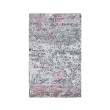 "Load image into Gallery viewer, 3'x4'9"" Pink Hi-Lo Pile Abstract Design Wool And Silk Hand Knotted Oriental Rug FWR294042"