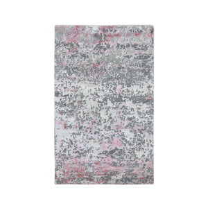 "3'x4'9"" Pink Hi-Lo Pile Abstract Design Wool And Silk Hand Knotted Oriental Rug FWR294042"
