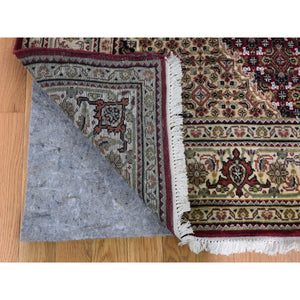 "5'x12'9"" Red Tabriz Mahi Gallery Size Wool And Silk Hand Knotted Oriental Rug FWR294276"