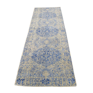 "2'5""x8' Wool And Silk Mamluk Design Jacquard Hand Loomed Runner Oriental Rug FWR294678"