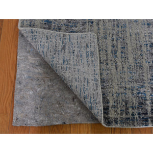 "2'6""x9'9"" Gray Fine jacquard Hand-Loomed Runner Modern Wool And Silk Oriental Rug FWR294798"