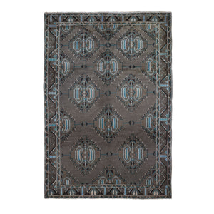 "6'8""x9'9"" Washed Out With Natural Colors Baluch Hand Knotted Pure Wool Oriental Rug FWR295056"