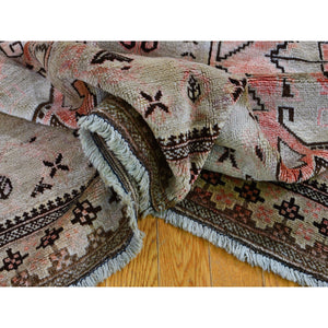 "6'5""x9'4"" Washed Out With Taupe And Salmon Color Pure Wool Hand Knotted Oriental Rug FWR295176"