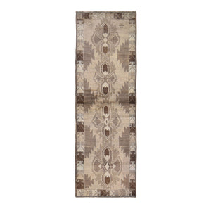 "2'5""x8' Washed Out Afghan Baluch With Natural Colors Pure Wool Runner Hand Knotted Oriental Rug FWR295542"