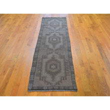 "Load image into Gallery viewer, 2'1""x8'2"" Washed Out Afghan Baluch With Natural Colors Pure Wool Runner Hand Knotted Oriental Rug FWR295632"