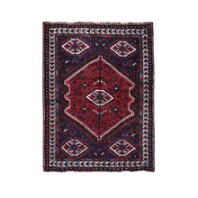 "Load image into Gallery viewer, 4'x5'7"" Red New Persian Shiraz With Medallion Pure Wool Runner Hand Knotted Oriental Rug FWR295638"